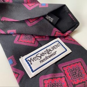 Yves Saint Laurent Neckwear Pink Pattern Mens Tie